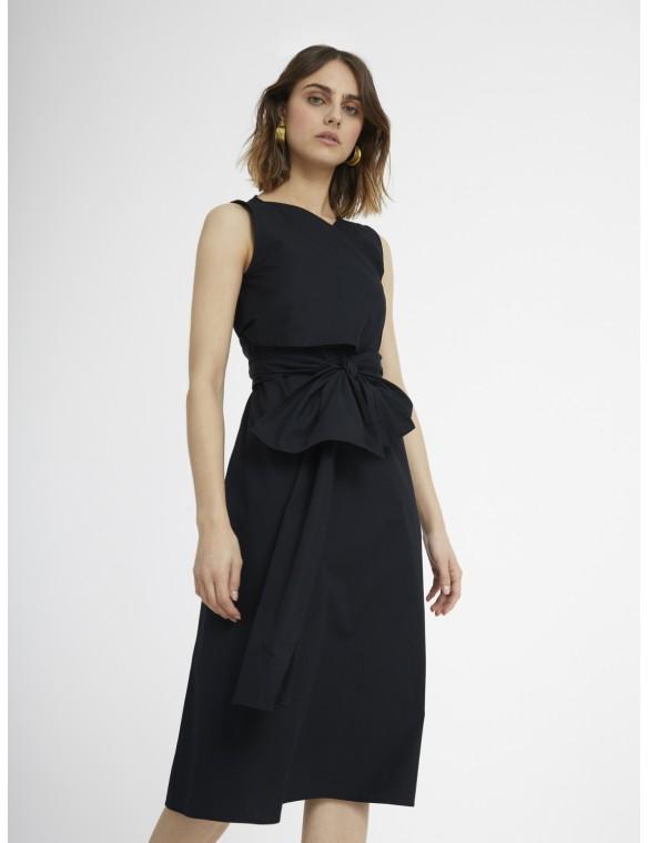 Wrap dress with bow.