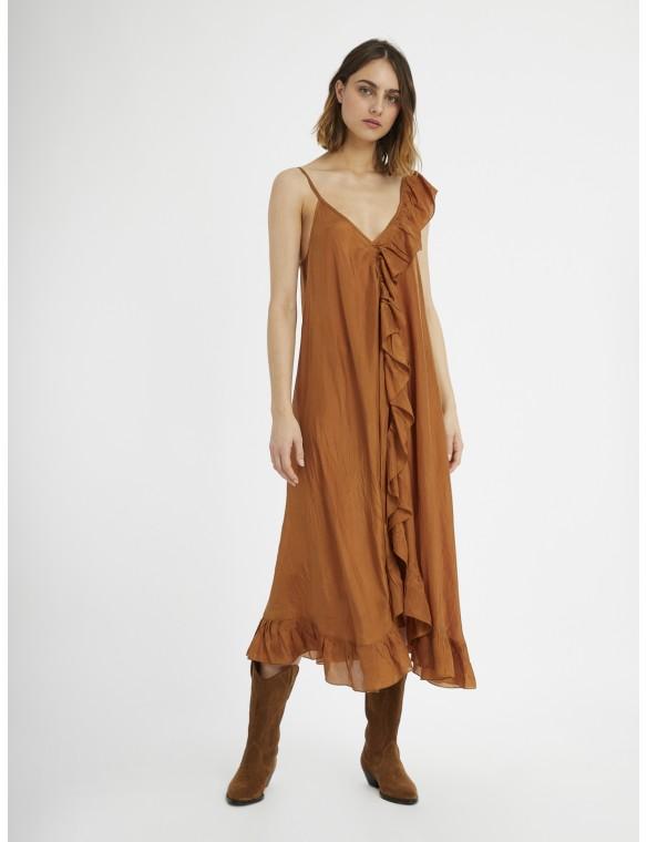 Frilly silk dress.