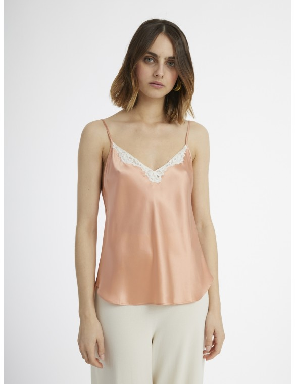 Peach Silk Lace Top