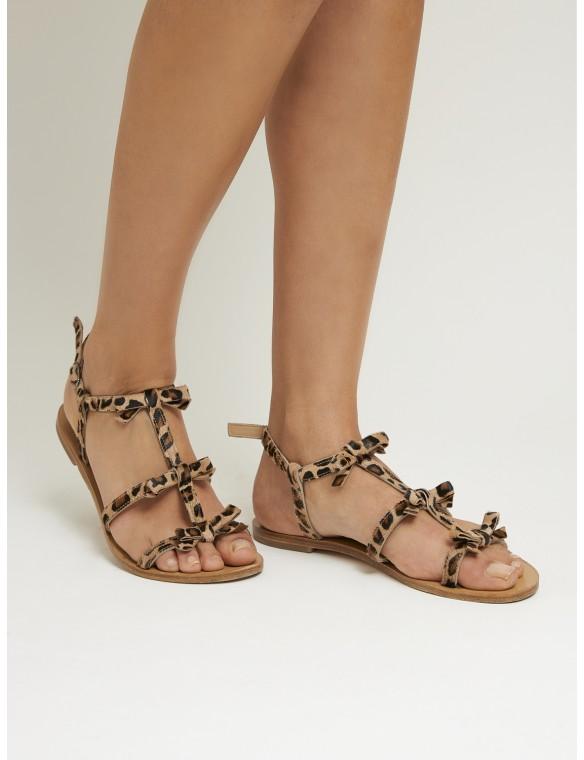 Sandalia lazos leopardo