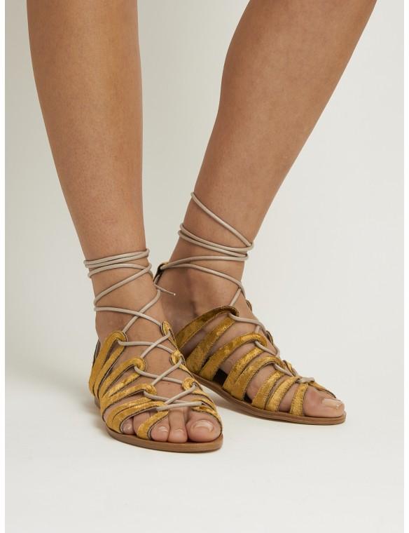 Velvet sandal straps.