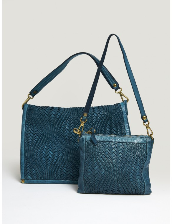 Big Blue Braided Leather Bag