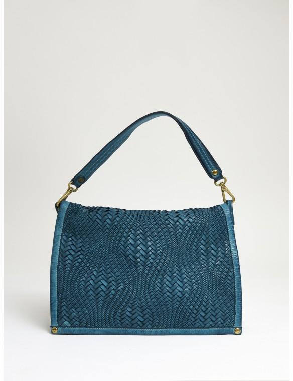 Big Blue Braided Leather Bag