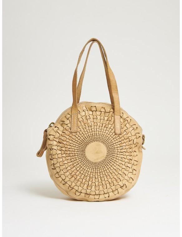 Round bag beige woven...