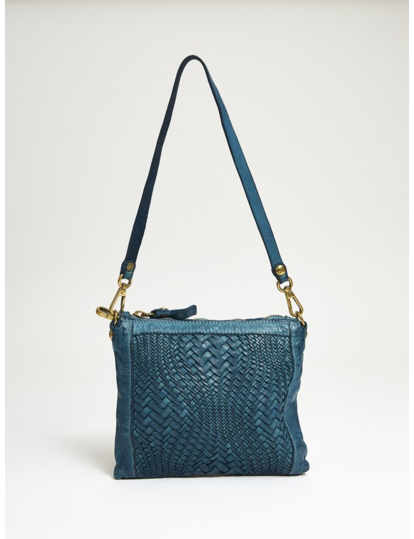 PEQ Blue Braided Leather Bag