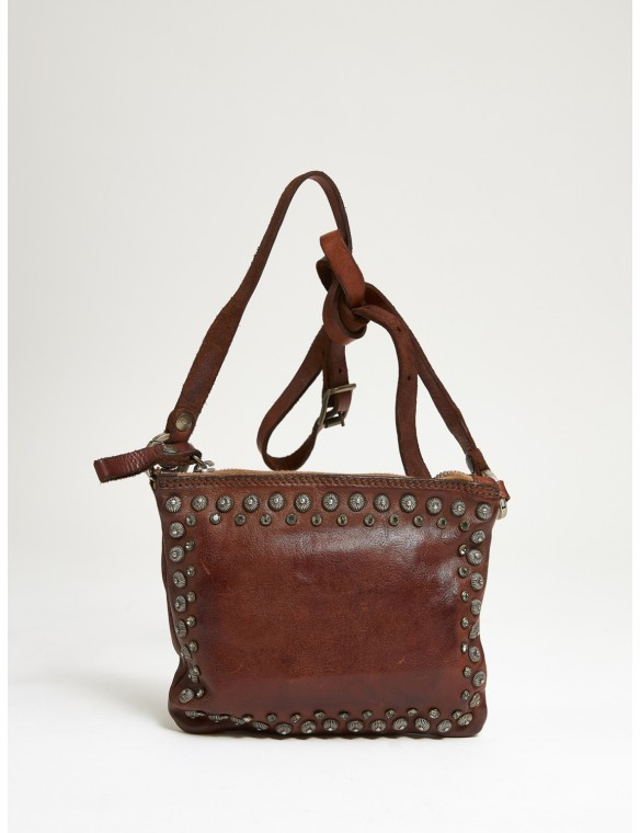 Studded shoulder bag.
