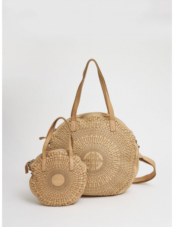 Big round bag beige leather...