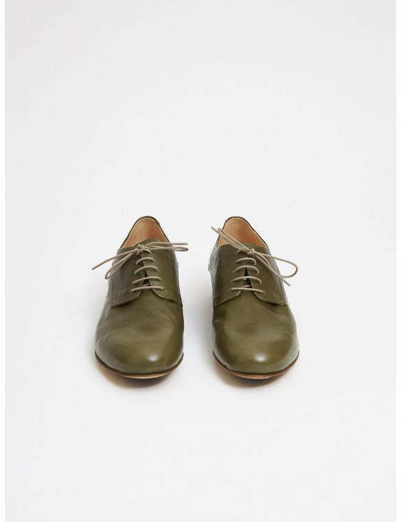 Green leather shoe with laces