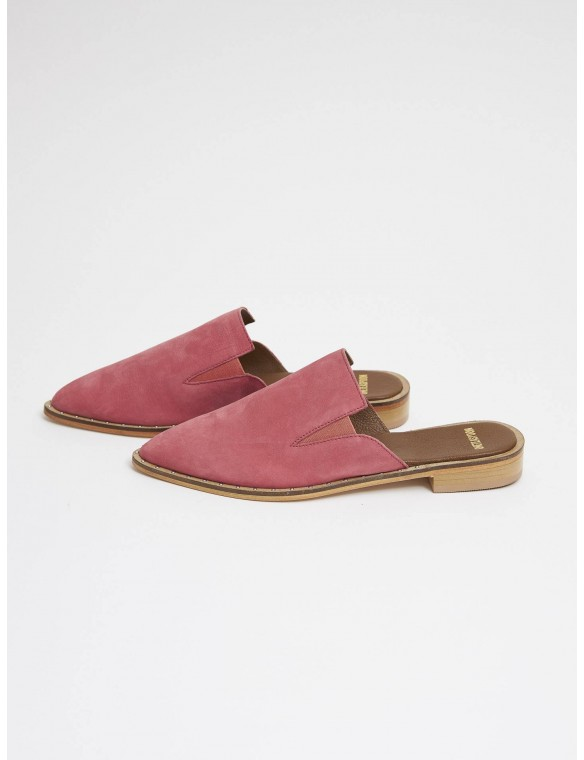 Pink Leather  Flat Mule