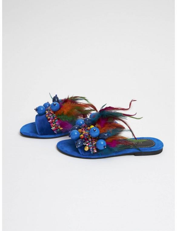 Sandalia plumas terciopelo azul