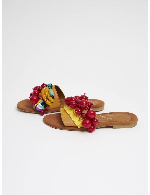 Multicolor beaded sandal.