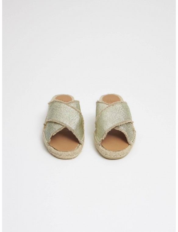 Metallic cross espadrille.