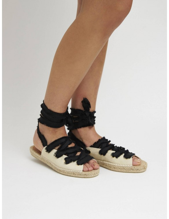 Black strip cross espadrille.