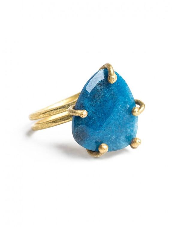 Anillo piedra engarzada azul