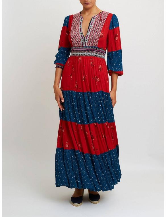 Long print dress.