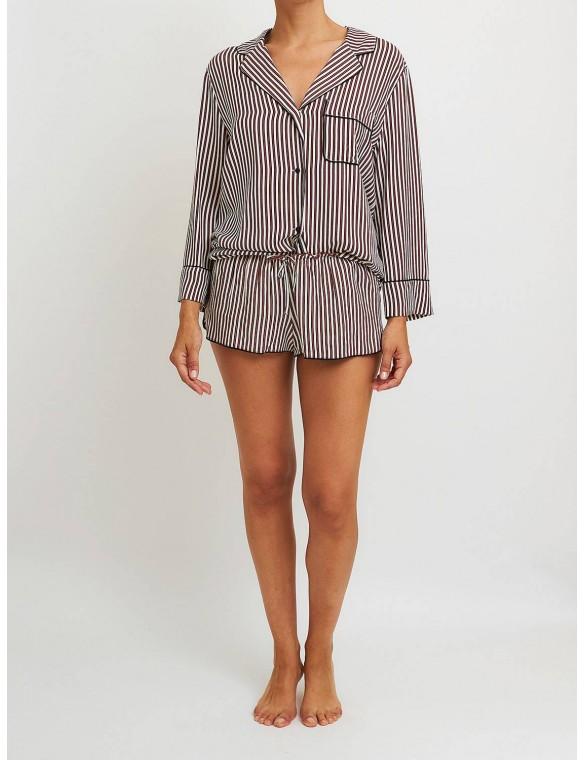 Striped pajama shirt.