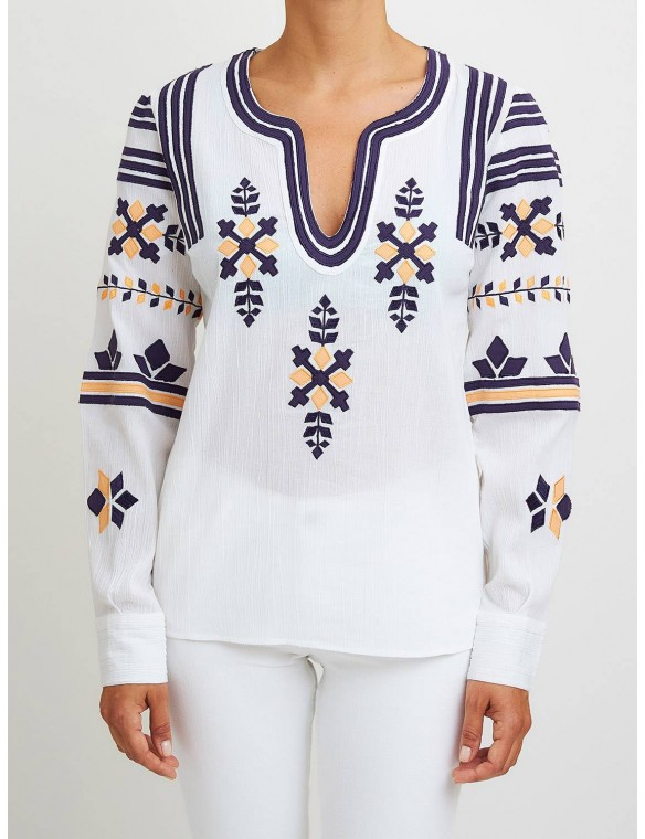 White embroidered blouse.