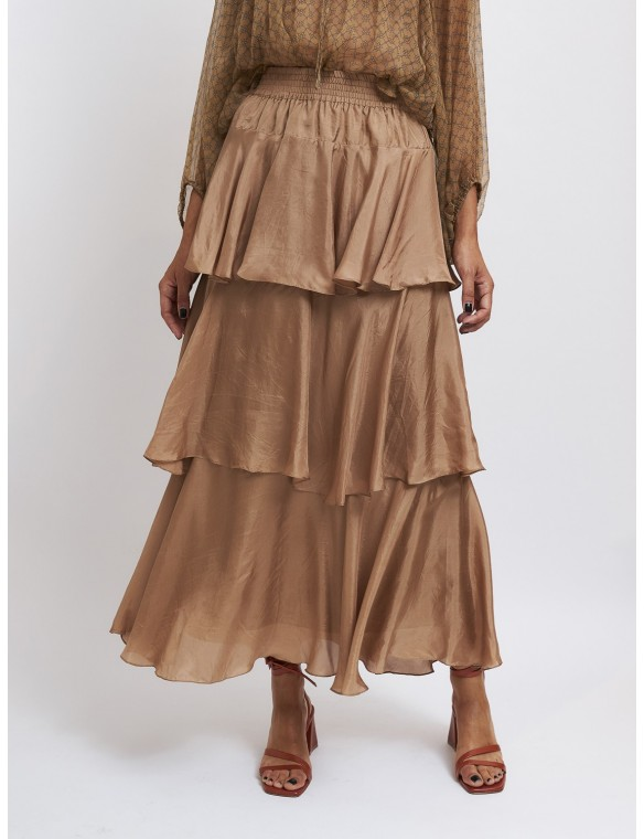 Silk skirt with ruffles