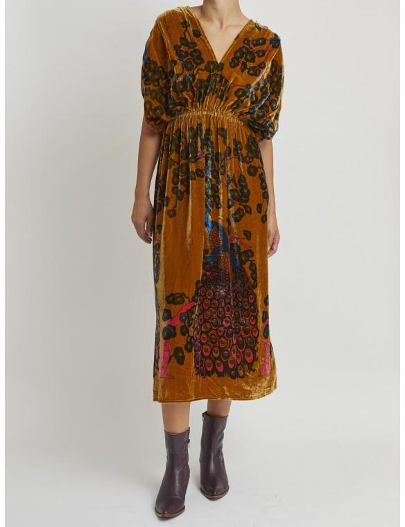 Velvet dress printed ocre