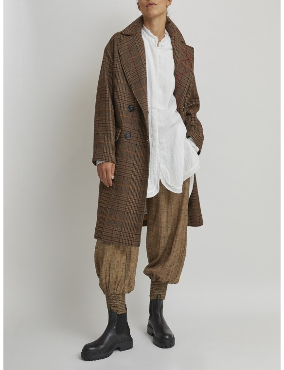 Brown check coat
