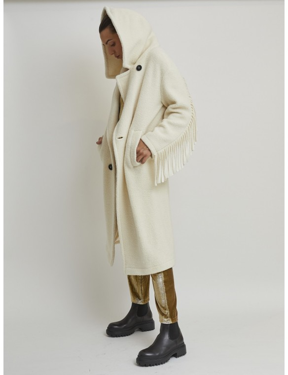 Wool coat with hood