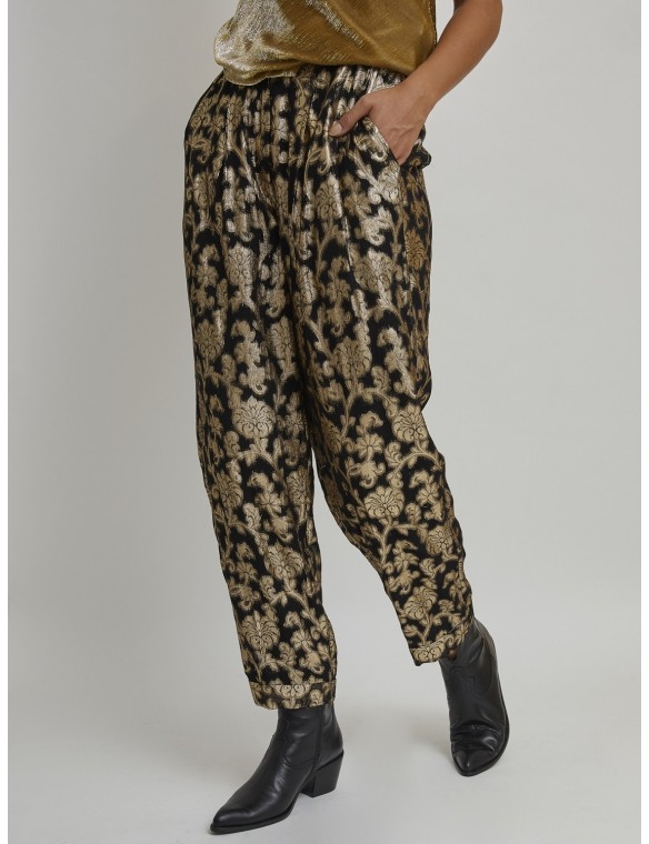 Black pant with gold print