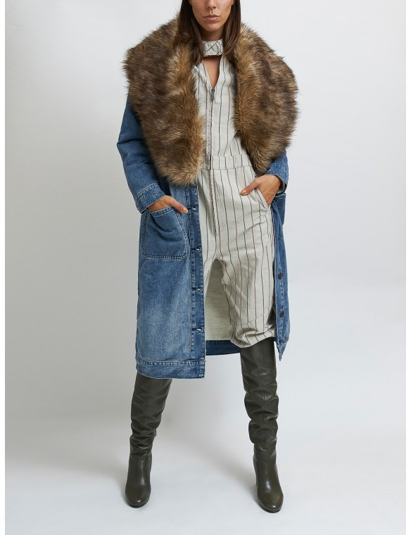 Denim parka with fur neck