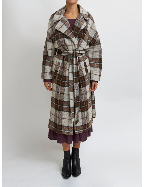 Checked coat with belt