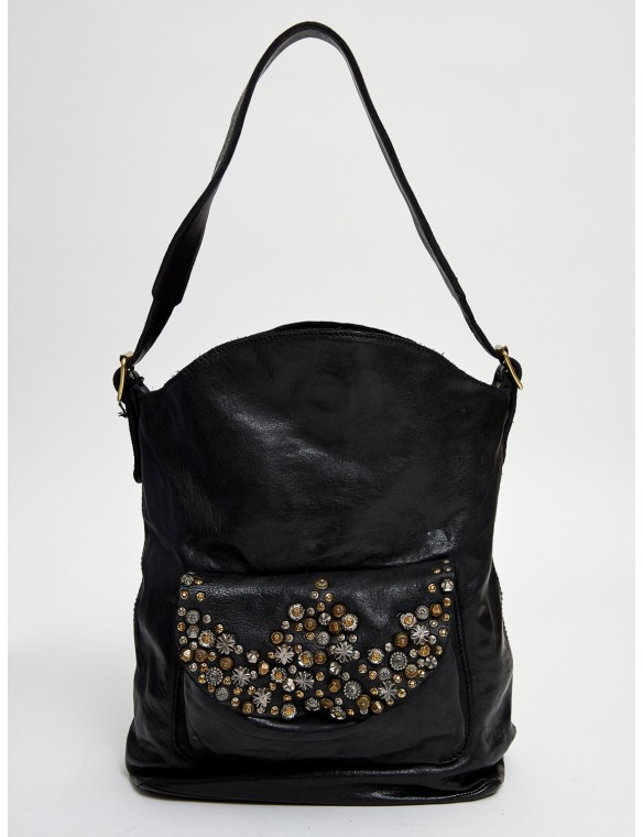 Sac bag with studs and flowers
