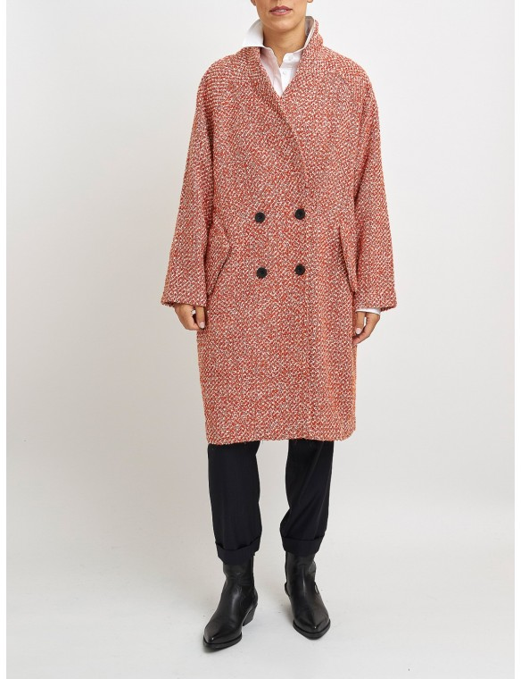 Orange cheviot coat