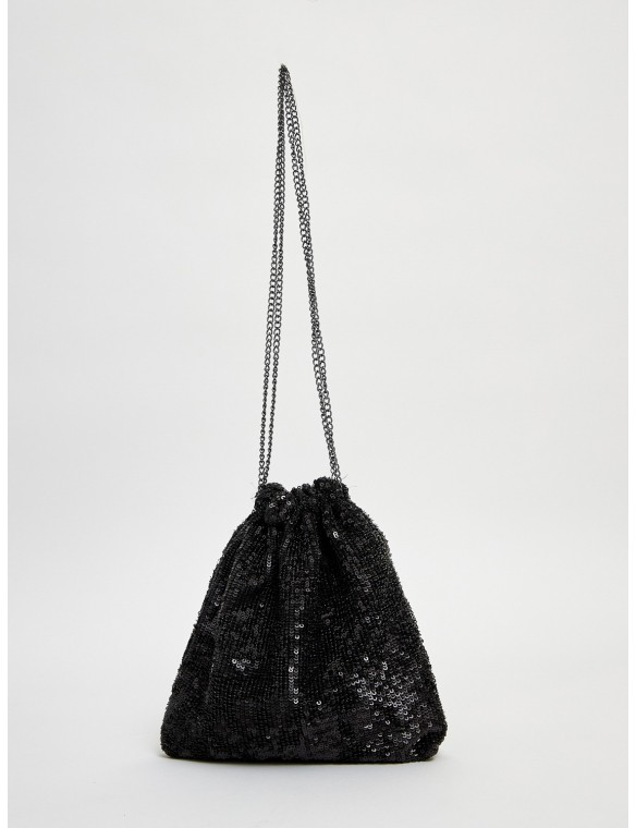 Black Sequin hand bag