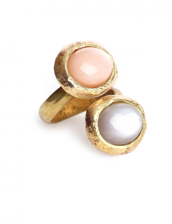 Pink and Brown stones ring