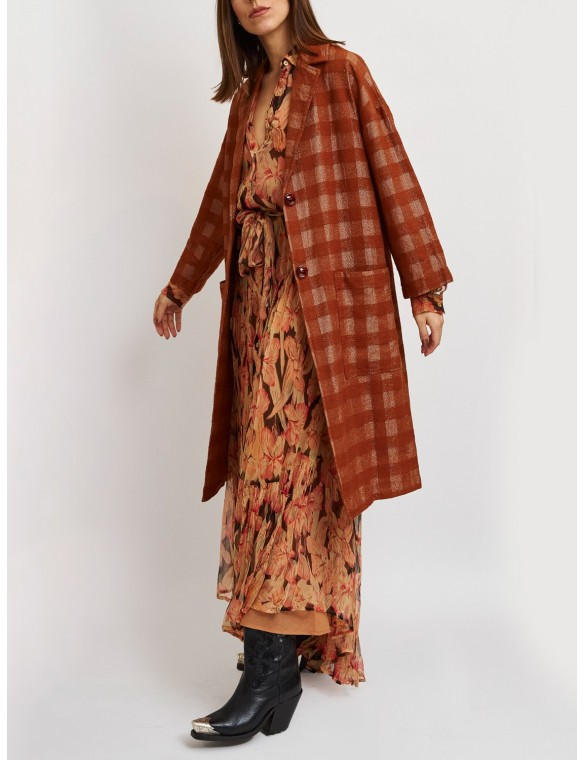 Lurex plaid coat pockets
