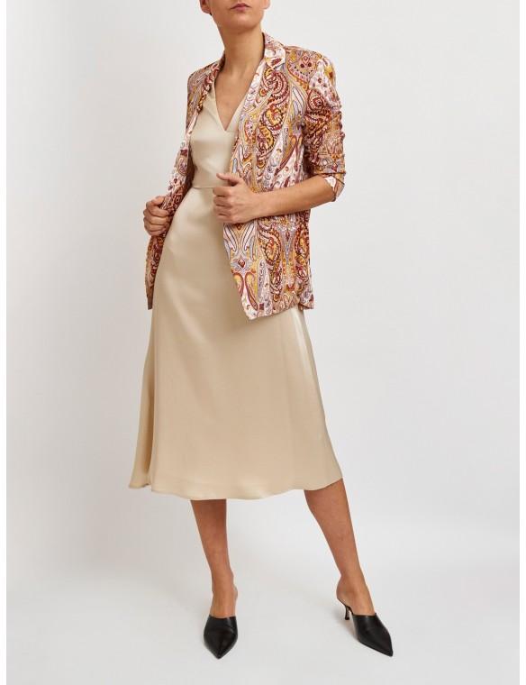 V-neck dress with waist seam
