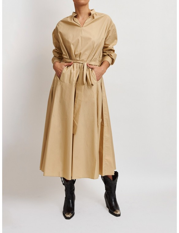 mao neck dress with long...