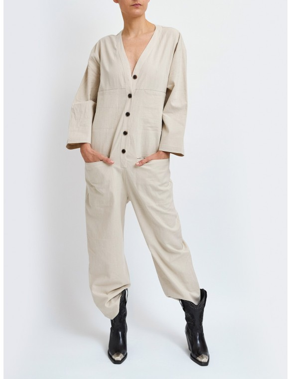 Jumpsuit with V-neck