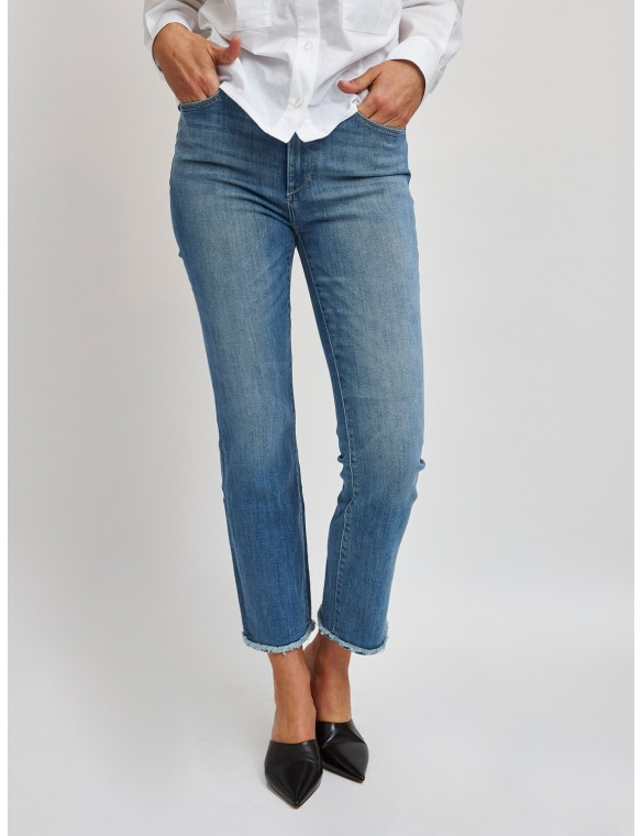 Straight jeans with fraded...
