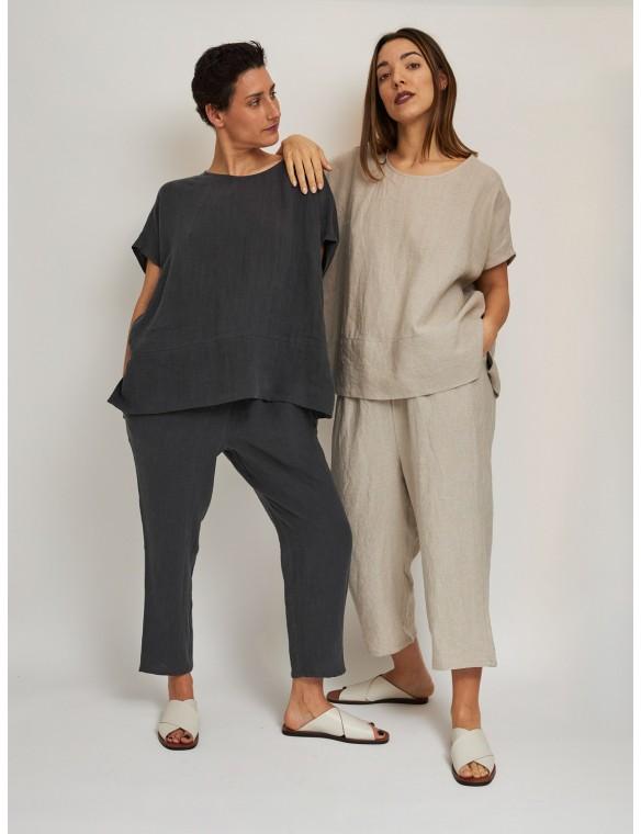 Oversize organic linen top