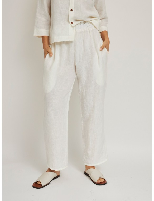 Organic linen basic pants with