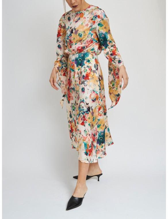 Printed dress asimetric