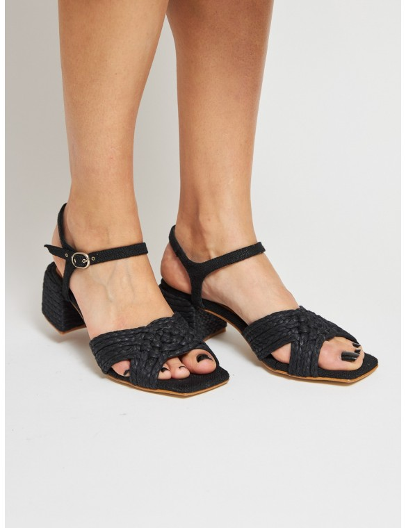 Black sandal braided,...