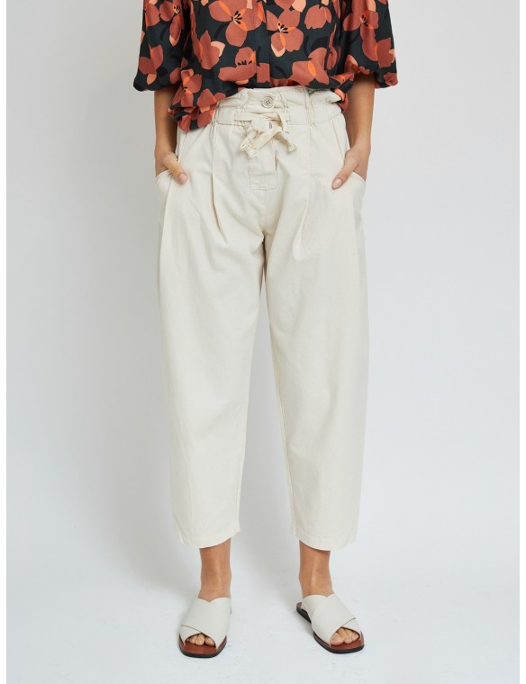 Cotton trousers with side...