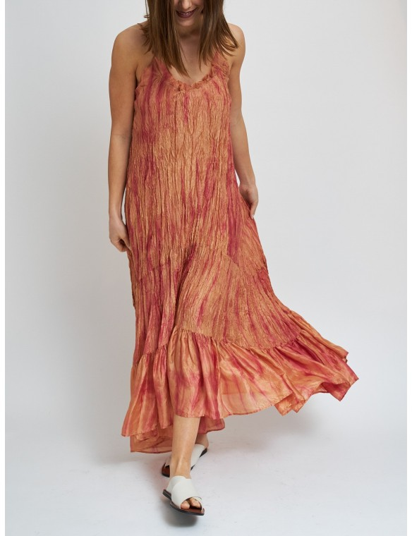 Asymmetric silk dress with...