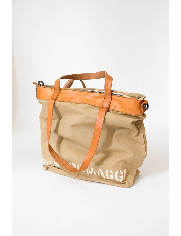leather canvas shopping bag