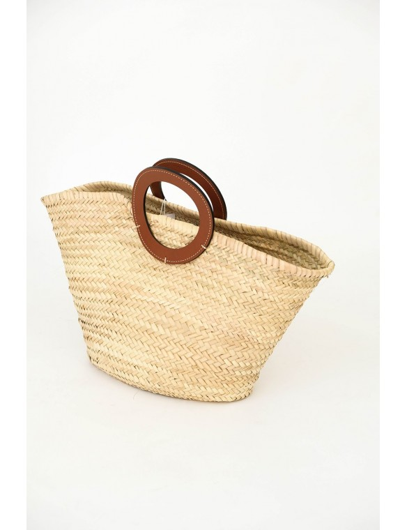 wicker bag with  leather...