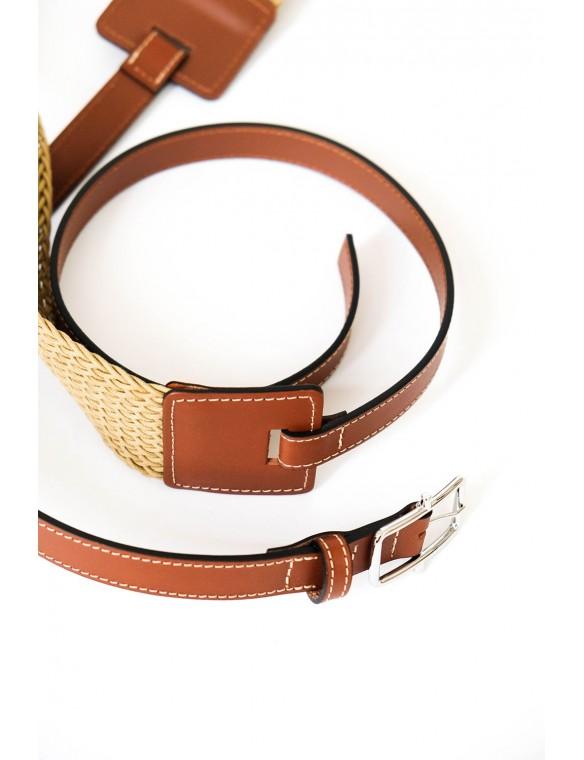 Raffia and leather belt