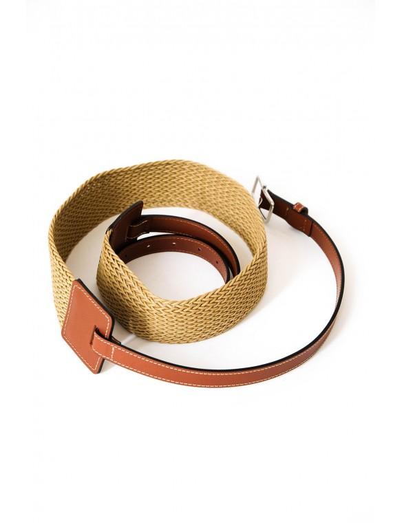 Cinturón rafia y piel