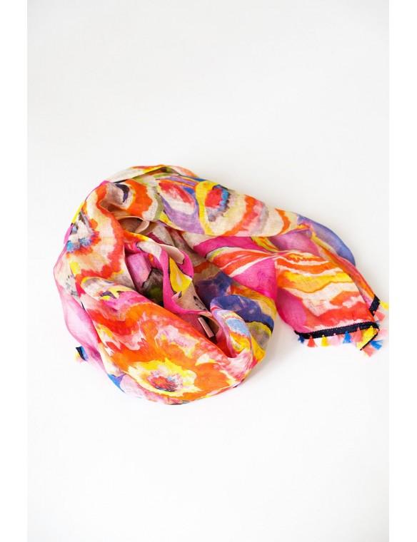 Tassels printed scarf