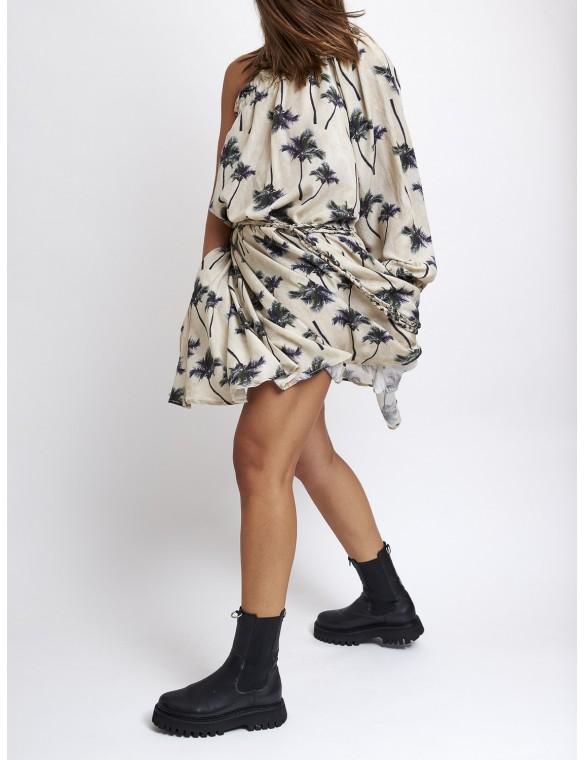 Asymmetric printed dress