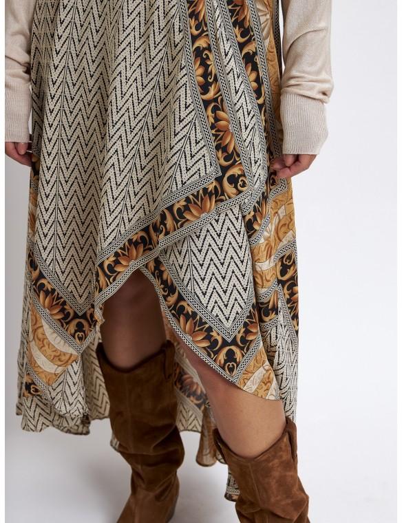 Falda estampada seda